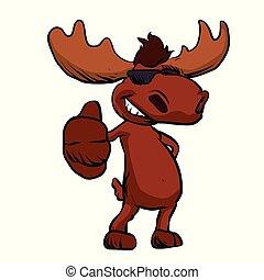 Cute moose cartoon waving. happy cartoon moose .vector illustration.