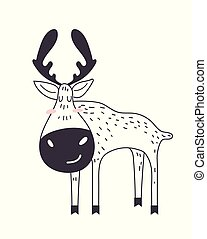 Cute moose in forest. vector illustration. Christmas, Winter illustration with moose.