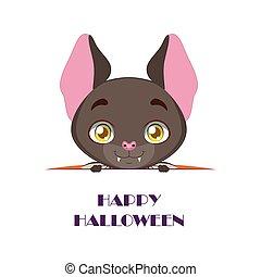 cute, morcego, peeking, com, feliz, dia das bruxas, texto,...