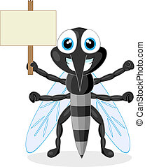 cute mosquito with wood sign - vector illustration of a cute...