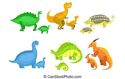 Cute Mother and Baby Dinosaurs Set, Loving Parents and Adorable Kids Prehistoric Animals Vector Illustration