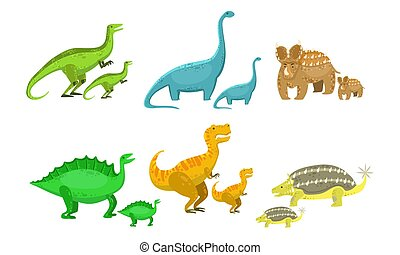 Cute Mother and Baby Dinosaurs Set, Loving Parents and Kids Prehistoric Animals Vector Illustration