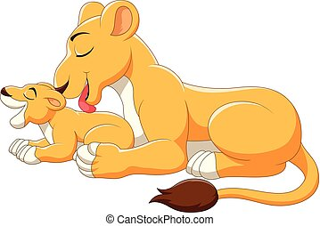 Cute mother and baby lion cartoon - Vector illustration of...