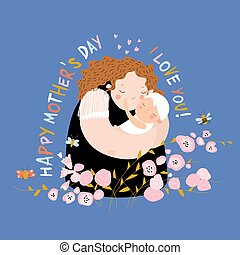 Cute mother hugging their child. Happy mothers day
