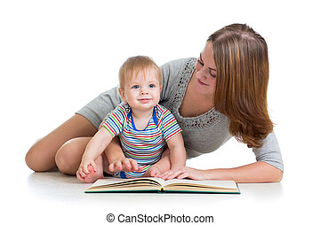 cute mother reading a book to her kid boy