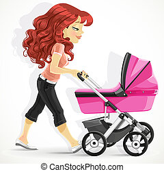 Cute mother with a pink pram