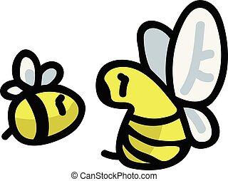 cute, motif, have, insekter, set., pollinator, illustration,...