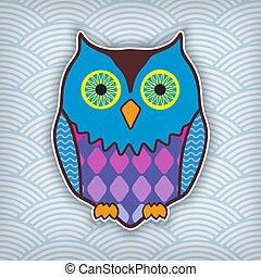 cute motley owl on a waved backdrop - cute motley owl on a ...