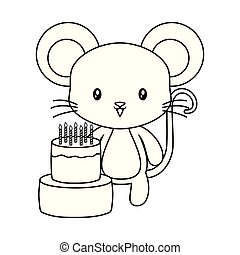 cute mouse animal with cake of birthday