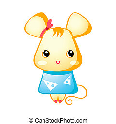 Cute mouse - Cute little mouse in japanese drawing style...