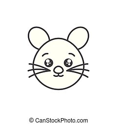 cute mouse domestic animal head line style icon
