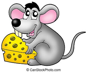 Cute mouse holding cheese - color illustration.