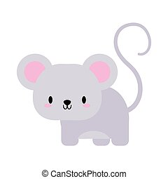 cute mouse kawaii, flat style icon