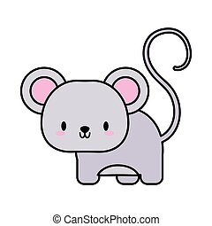 cute mouse kawaii, line and fill style icon