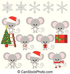 Cute mouse New Year symbol, sweet and funny cartoon little baby child character isolated on white background.