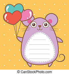 cute mouse of scrapbook background