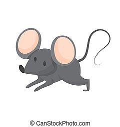 cute, mouse., pele, engraçado, grande, cinzento, animal, orelhas