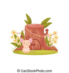 Cute mouse sits near his house in the form of a stump. Vector illustration on white background.