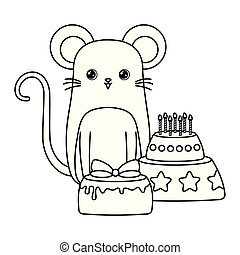 cute mouse with cakes of birthday