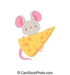 Cute mouse with cheese, funny animal cartoon character vector Illustration on a white background