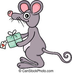Cute mouse with gift
