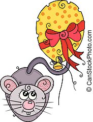 Cute mouse with shaped cheese balloon and red ribbon bow