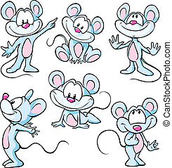 cute mouses on white background