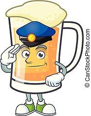 Cute mug of beer with police mascot.