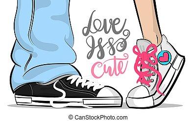 cute, mulher, arte, estouro, sneakers, beijo, amor, homem