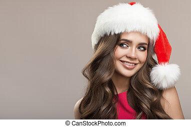 cute, mulher, cinzento, experiência., atraente, santa, hat., retrato, sorrindo