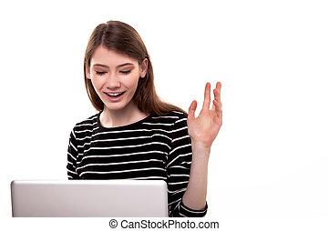 cute, mulher, com, pc, mão levantada, boa notícia, estoque, imagem