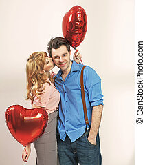 cute, mulher, dela, valentine, beijando, loiro, namorado