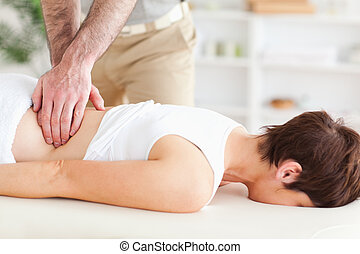 cute, mulher, massaging, homem