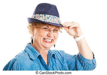 cute, mulher, meio, sugestões, envelhecido, chapéu