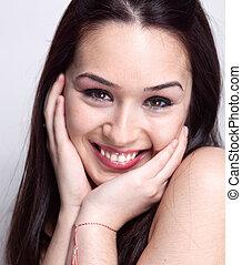cute, mulher, natural, bonito, sorrizo