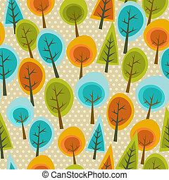 Cute multicolored forest pattern - Cute tree forest seamless...