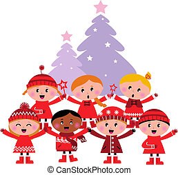 Cute multicultural caroling Children, christmas Tree -...