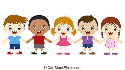 cute, multicultural, crianças, mão