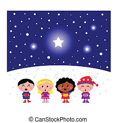 "Kids singing ""Silent Night"" chritmas melody. Vector Illustration"