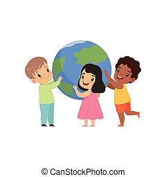 Cute multicultural little kids standing around the Earth globe and holding it vector Illustration on a white background