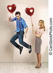 cute, namorado, mulher, dela, valentine