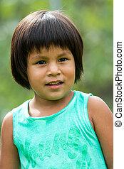 Cute native american girl. - Close up portrait of cute south...