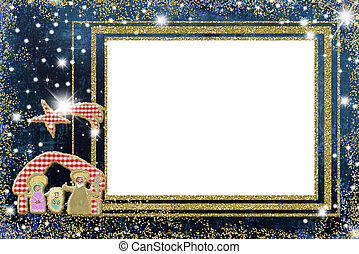 Cute Nativity Scene Christmas frames. Nativity Scene hanmade with fabrics and gold blank frame to write or put photos on blue background with stars