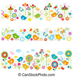 nature borders with birds, butterflies, flowers mouse, cute colorful elements