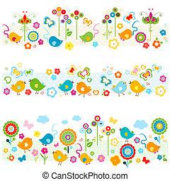 cute, natureza, fronteiras, com, coloridos, elementos