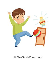 Cute Naughty Boy Playing with Ball at Home, Bad Child Behavior Vector Illustration
