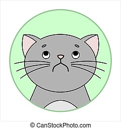 Cute Naughty, Grumpy Cat, Round Icon, Emoji. Perplexity, Discontent. Gray Cat With A Mustache Unhappy, Vector Image Isolated On A White Background.