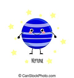 Kawaii Neptune planet with the happy fase. Planet characters vector illustration isolated on white background.