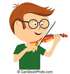 Cute nerd little boy with glasses plays violin