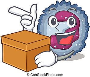 Cute neutrophil cell cartoon character having a box. Vector ...